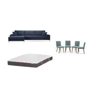 Set tmavomodrej pohovky s leňoškou vľavo, 4 sivozelených stoličiek a matraca 160 × 200 cm Home Essentials