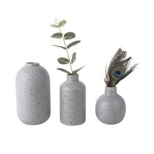 Sada 3 sivých keramických váz PT LIVING Dotted