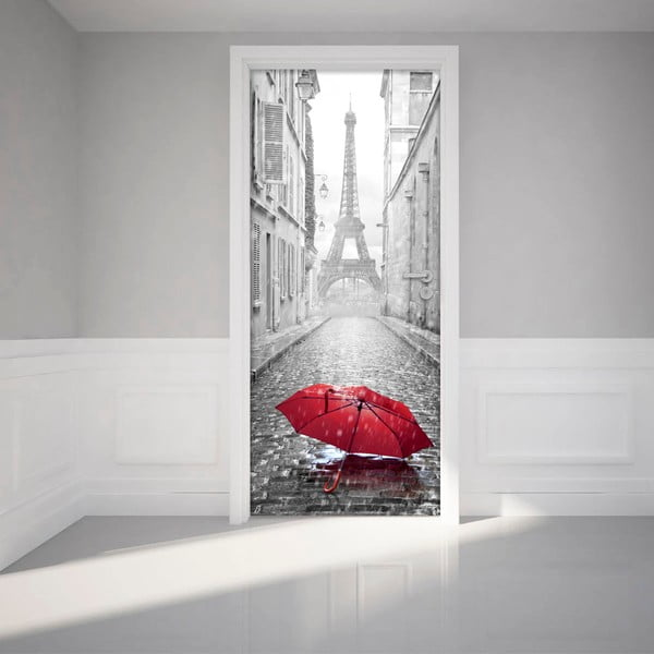 Adhezívna samolepka na dvere Ambiance Eifel Tower And Umbrella