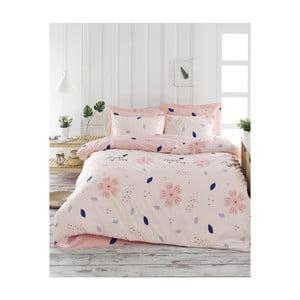 Obliečky s plachtou na dvojlôžko z ranforce bavlny Mijolnir FlowerOfLove Powder, 200 × 220 cm