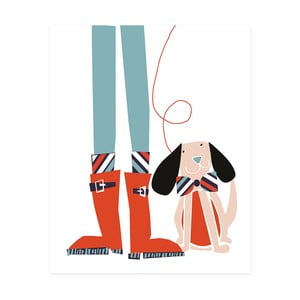 Dekoratívny obrázok Caroline Gardner Dog Wellies, 21 x 26 cm