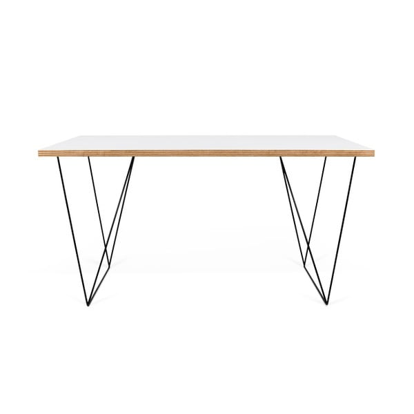 Biely pracovný stôl s čiernymi nohami TemaHome Flow