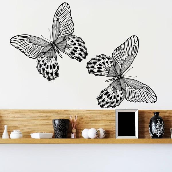 Samolepka na stenu Čierne motýlei, 90x60 cm