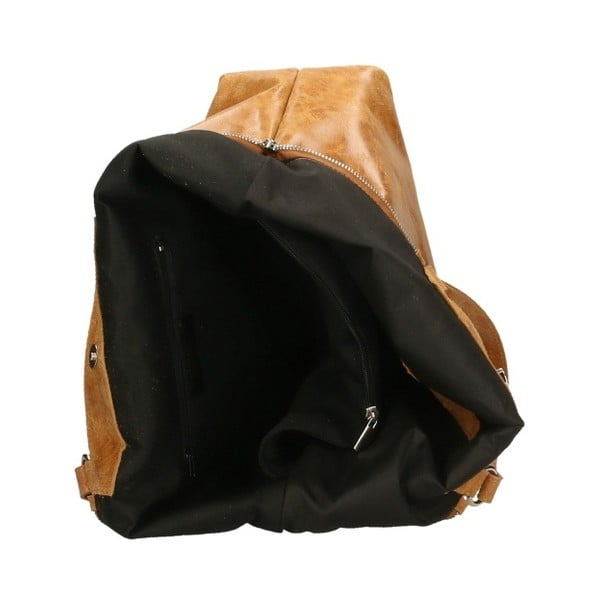 Koňakovohnedá kožená kabelka Chicca Borse Terracia