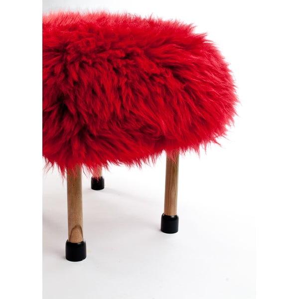 Stolička z ovčej kože Nerys Dragon Red
