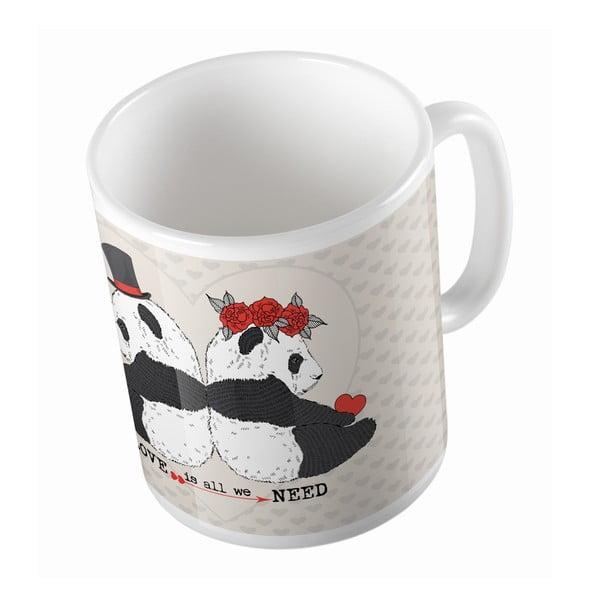 Keramický hrnček Panda Wedding, 330 ml