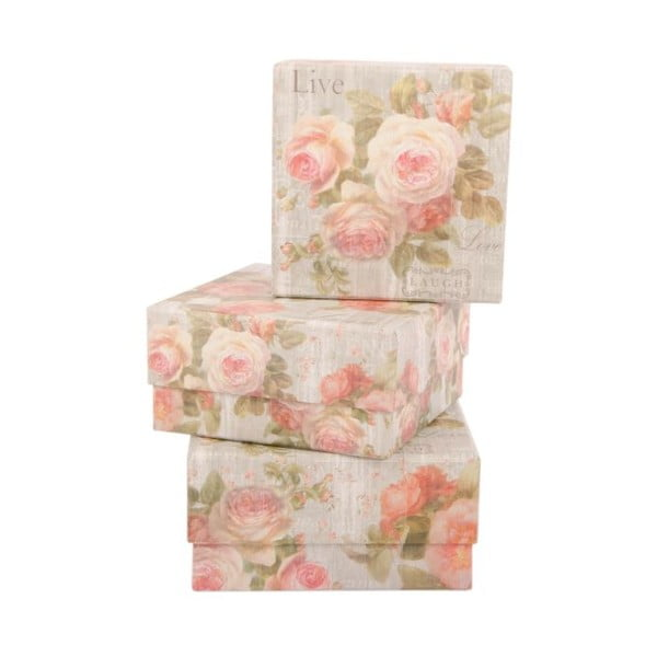 Sada 3 úložných krabíc Sweet Roses