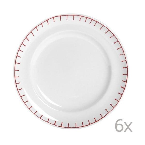 Sada 6 tanierov Sophie Stitch 21 cm, červená