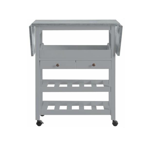 Sivý rozkladací kuchynský vozík z borovicového dreva Støraa Nemo