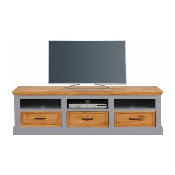 Sivý TV stolík z masívneho borovicového dreva Støraa Suzie
