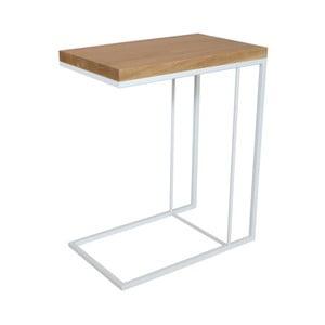 Biely odkladací stolík s doskou z dubového dreva Take Me HOME Felix, 50×30cm