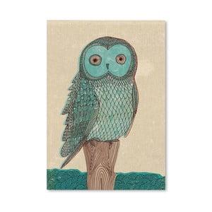 Plagát Owl in Blue Monotone, 30x42 cm