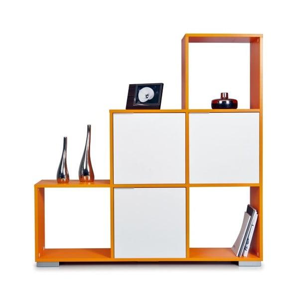 Knižnica Decolour, oranžová/biela