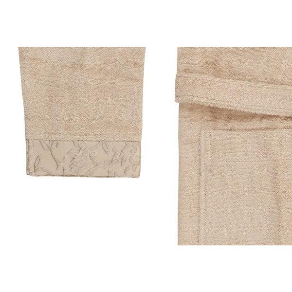 Béžový set županu, uteráka a osušky zo 100% bavlny Crespo, veľ. M / L