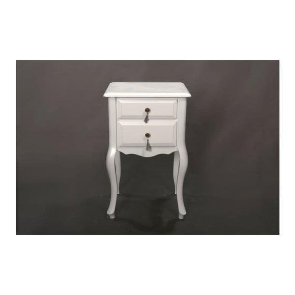 Odkladací stolík Veronica White, 45x39x70 cm
