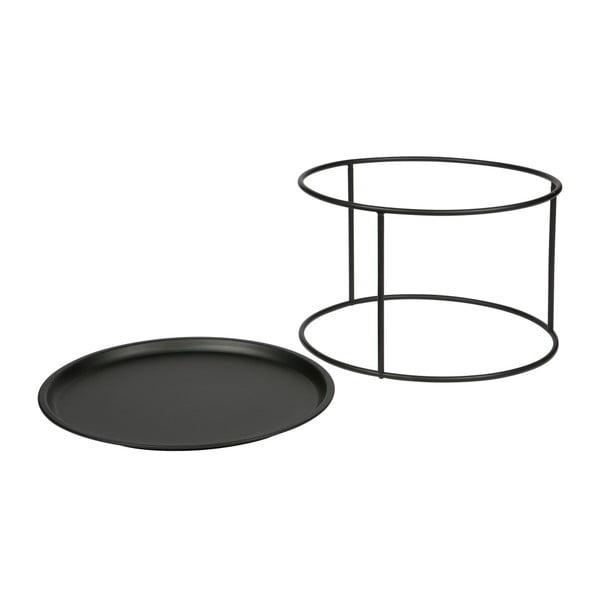Čierny odkladací stolík WOOOD Ivar, Ø56cm