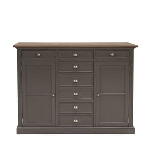 Sivá komoda Canett Royal Highboard, 8 zásuviek