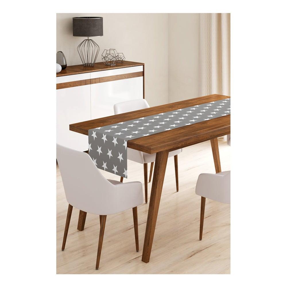 Behúň na stôl z mikrovlákna Minimalist Cushion Covers Grey Stars, 45 × 145 cm