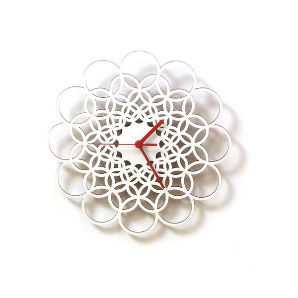Drevené hodiny Rings biele, 29 cm