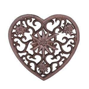 Hnedá liatinová podložka pod horúce nádoby v tvare srdca Antic Line