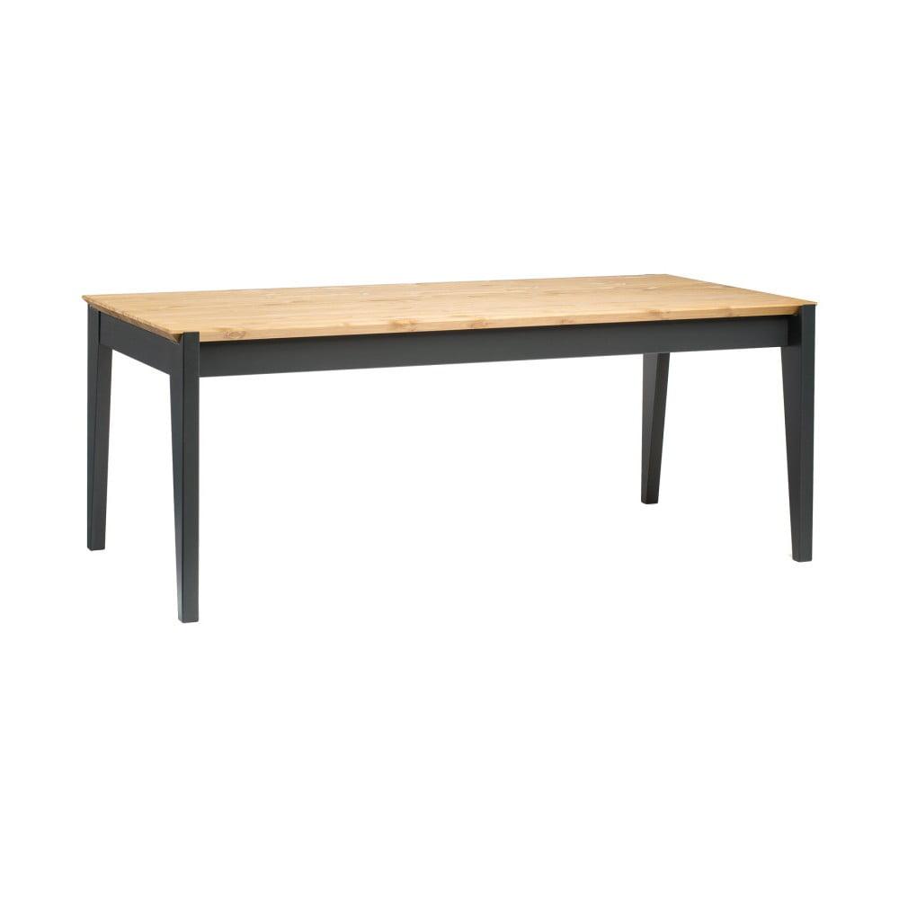 Stôl z borovicového dreva s tmavosivými nohami Askala Hook, dĺžka 190 cm