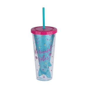 Modrý cestovný pohár so slamkou Tri-Coastal Design Mermaid Vibes, 750 ml