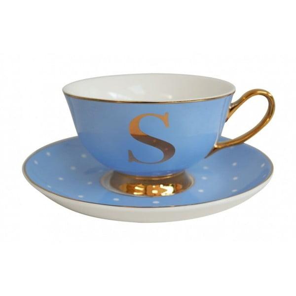 Modrý hrnček s tanierikom s písmenom S Bombay Duck
