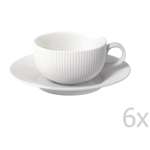 Sada 6 šálok a tanierikov z kostného porcelánu Flute, 250 ml