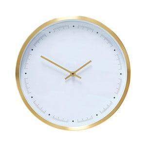 Biele nástenné hodiny s rámčekom v zlatej farbe Hübsch Ibrea, ø 30 cm