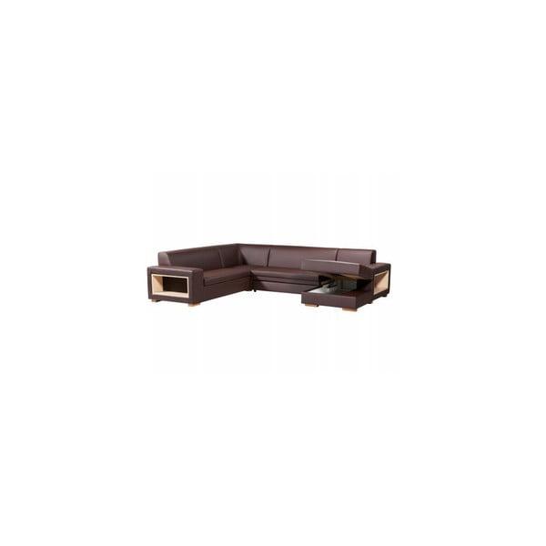 Rozkladacia pohovka A-Maze s úložným priestorom 305 cm, čokoláda, pravá strana