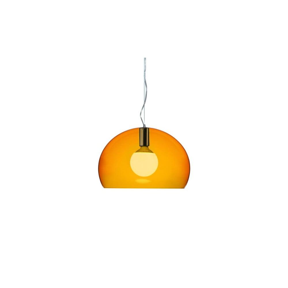 Menšie oranžové stropné svietidlo Kartell Fly