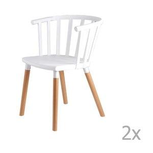 Sada 2 bielych jedálenských stoličiek sdrevenými nohami sømcasa Jenna