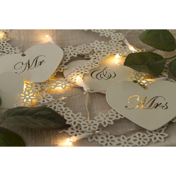 Svadobná girlanda s LED svetielkami Mr. & Mrs, 1 m