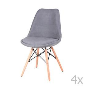 Sada 4 sivých jedálenských stoličiek sømcasa Lindy
