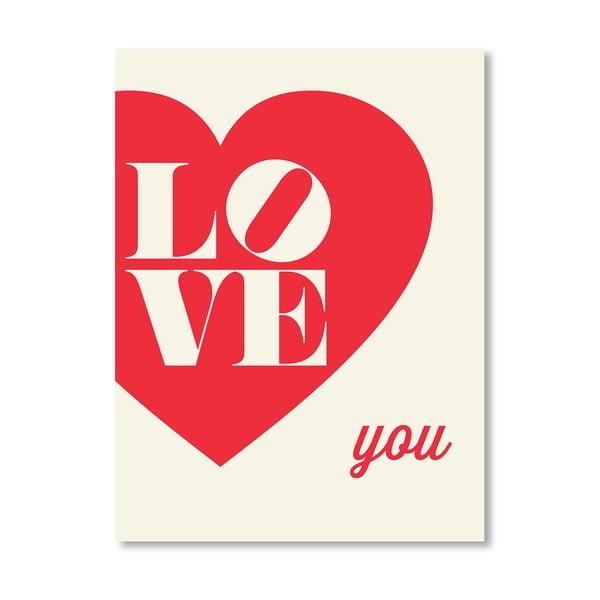 Plagát Love You Heart, 42x60 cm