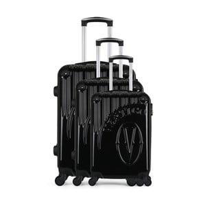 Sada 3 čiernych cestovných kufrov na kolieskach VERTIGO Cadenas Integre