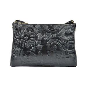 Čierna kožená kabelka Carla Ferreri Agnella