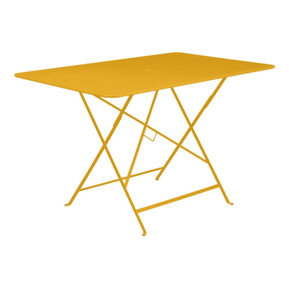 Žltý skladací záhradný stolík Fermob Bistro, 117 × 77 cm