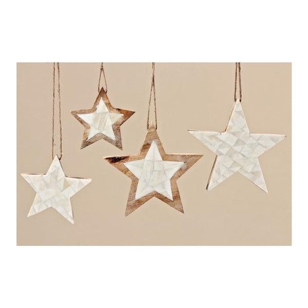 Sada 4 ks dekoratívnych hviezd Yvi