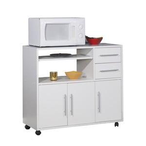 Biely pojazdný kuchynský úložný systém s policami Symbiosis Marius