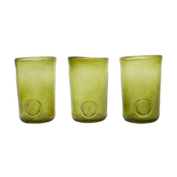 Set troch pohárov, zelená