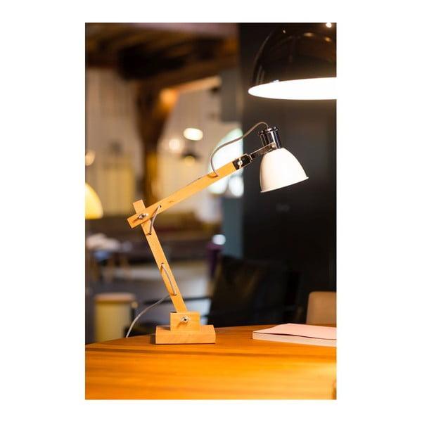 Drevená stolová lampa s bielym tienidlom ETH Craco