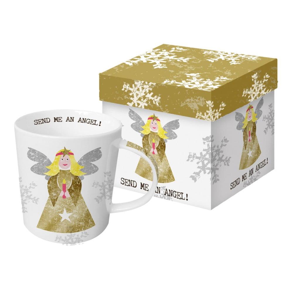 Hrnček z kostného porcelánu s vianočným motívom v darčekovom balení PPD Send Me An Angel, 350 ml