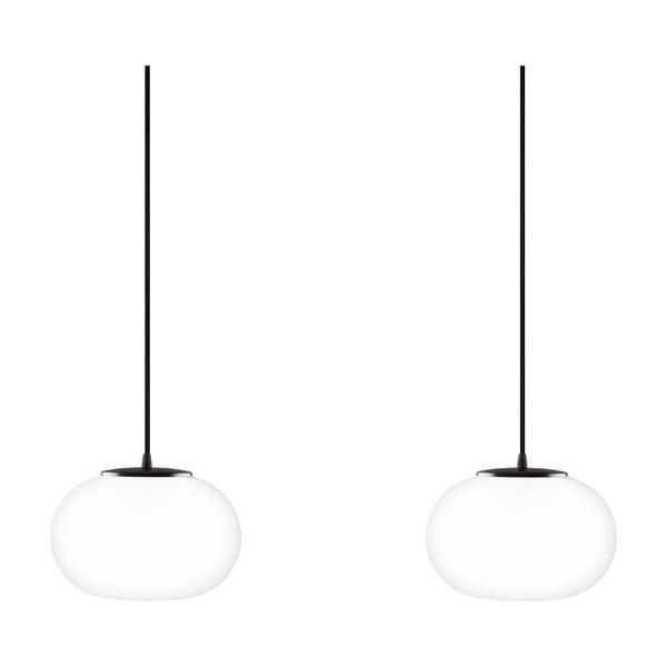 Dvojité závesné svietidlo z opálového skla s čiernou objímkou Sotto Luce DOSEI