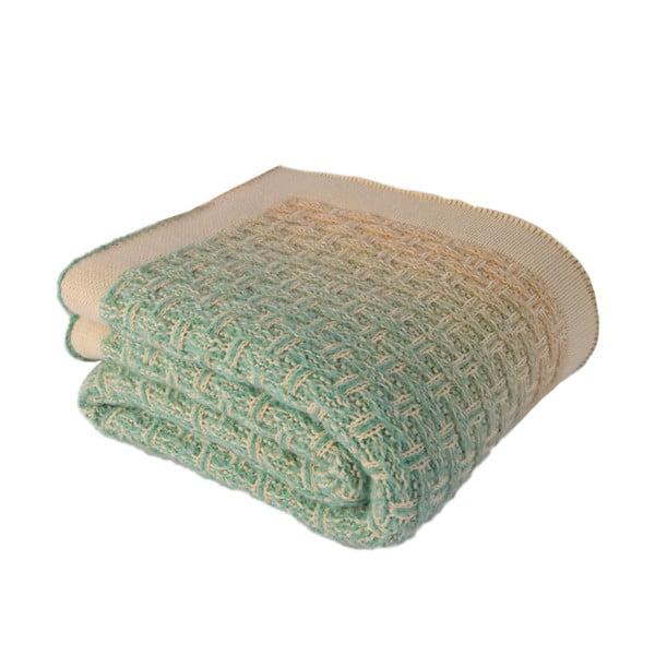 Béžovo-zelená deka Touta, 170 x 130 cm