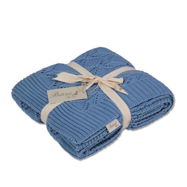 Modrá bavlnená deka Jennifer, 130×170cm