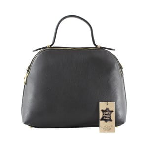 Čierna kožená kabelka Chicca Borse Turma