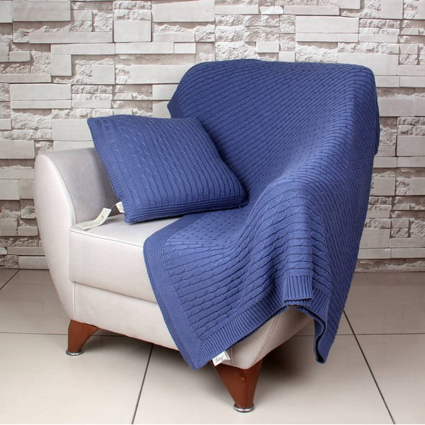 Modrá bavlnená deka Celma