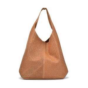 Koňaková hnedá kožená kabelka Mangotti Carol