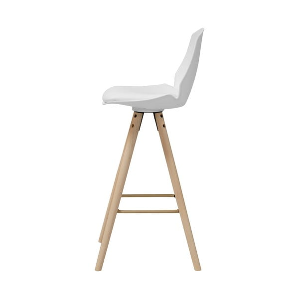Biela barová stolička s podnožím z dubového dreva Actona Oslo I.